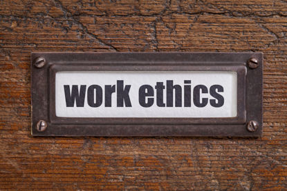 sign with words work ethics